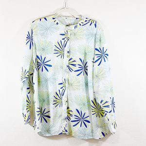 Talbots Blue/White/Yellow Cotton Shirt 3XP